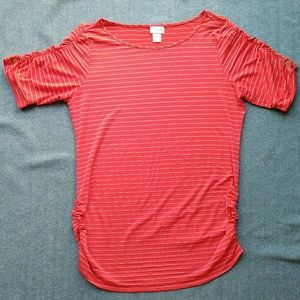 Motherhood Maternity Red Shirt with Thin Stripes